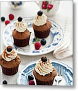 Chocolate Muffins With Berries Metal Print