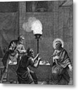 Christ And The Two Disciples At Emmaus Metal Print