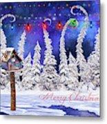 Christmas Card With Bird House Metal Print
