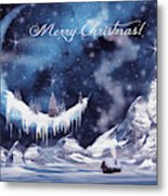 Christmas Card With Frozen Moon Metal Print
