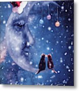 Christmas Card With Smiling Moon And Cats Metal Print