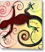 Christmas Gecko With Gold Poop Metal Print
