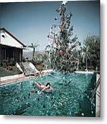 Christmas Swim Metal Print