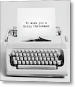 Christmas Wishes Written On An Old Typewriter. Metal Print