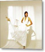 Christy Turlington Wearing A White Paper Dress Metal Print