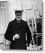 Churchill On Ship Metal Print