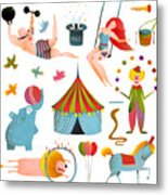 Circus Carnival Show Clip Art Vintage Metal Print