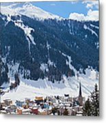 Cityscape Of Davos, Grisons, Switzerland Metal Print
