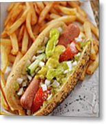 Classic Chicago Dog With Fries Metal Print