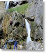 Climbers Making Their Way Up The Cliffs Of Gordale Scar Metal Print