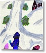 Climbing To The Top Of The Hill Metal Print