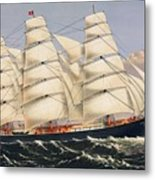 Clipper Ship Three Brothers, The Largest Sailing Ship In The World Published By Currier And Ives Metal Print