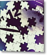 Clock Holes And Puzzle Pieces Metal Print