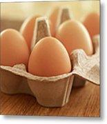 Close Up Of Brown Eggs In Carton Metal Print