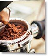 Close Up Of Espresso Grounds In Machine Metal Print