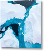 Close Up Photo Of Beautiful Blue Ice In Metal Print
