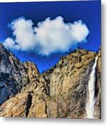 Clouds Abover Upper Yosemite Fall Metal Print