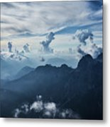Moody Cloudy Mountains With A Lot Of Contrast And Shadows And Clouds Metal Print