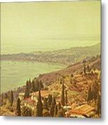 Coastline Of Taormina And Giardini Naxos Metal Print
