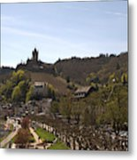 Cochem Main Street And Castle In Springtime In Germany Metal Print