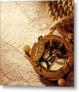 Coiled Rope And Nautical Chart With A Metal Print