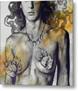 Colony Collapse Disorder - Gold - Nude Warrior Woman With Autumn Leaves Metal Print