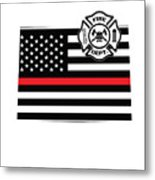 Colorado Firefighter Shield Thin Red Line Flag Metal Print
