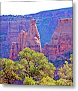 Colorado National Monument Colorado Blue Sky Red Rocks Clouds Trees 2 10212018 2871.jpg Metal Print