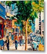 Colorful Cafe Painting Irish Pubs Bistros Bars Diners Delis Downtown C Spandau Montreal Eats         Metal Print