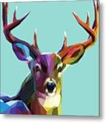Colorful Deer Illustration.  Background Metal Print