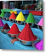Colorful Dyes At Indian Market Metal Print