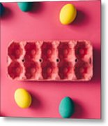 Colorful Easter Eggs On Pink Background Metal Print