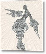 Comic-book Style Cyborg Hero Metal Print
