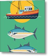 Commercial Fishery Concept Layout. Tuna Metal Print