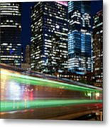 Commuter Train In Downtown Chicago Metal Print