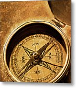 Compass On Old Texture Metal Print