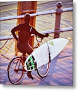 Contemplating The Surf Metal Print