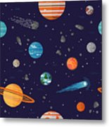 Cool Galaxy Planets And Stars Space Metal Print