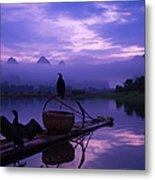 Cormorant On Li River Metal Print