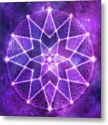 Cosmic Purple Geometric Seed Of Life Crystal Lotus Star Mandala Metal Print