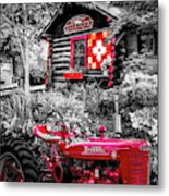 Country Town Charm In Red, Black And White Metal Print