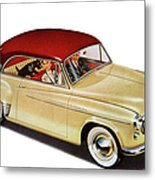 Couple In Car With Scotty Dog Metal Print