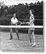 Couple Playing Tennis Metal Print