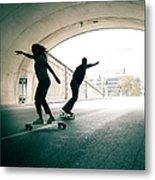 Couple Skateboarding Through Tunnel Metal Print