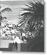 Couple Walking In Path Towards Beach Metal Print