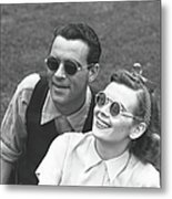 Couple Wearing Sunglasses Sitting On Metal Print