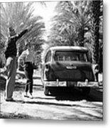 Couple With A 1955 Chevrolet Townsman Metal Print