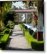 Painted Texture Courtyard Landscape Getty Villa California  Metal Print
