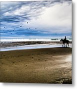 Cowboy Riding Horse On Beach Metal Print