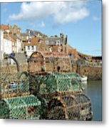 Crail Harbour And Lobster Pots Metal Print